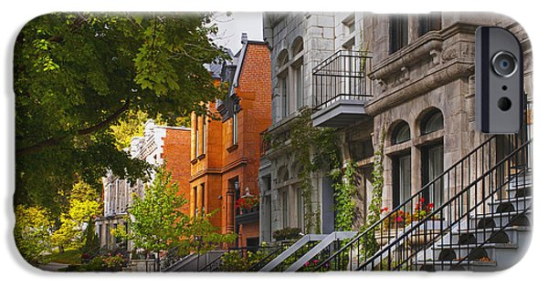 Heritage Montreal iPhone Cases - Apartment Buildings Along City Street iPhone Case by David Chapman