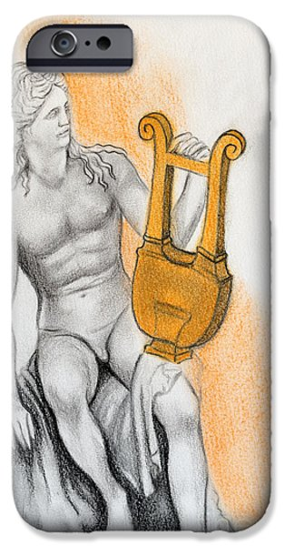 Statue Portrait Drawings iPhone Cases - Apollo iPhone Case by Gabriela Junosova
