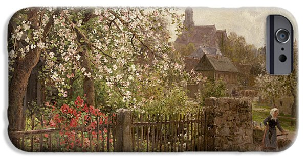 Village iPhone Cases - Apple Blossom iPhone Case by Alfred Muhlig
