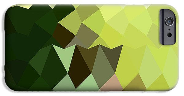 Mosaic iPhone Cases - Apple Green Abstract Low Polygon Background iPhone Case by Aloysius Patrimonio