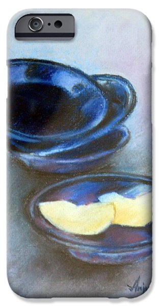Etc. Pastels iPhone Cases - Apple on Plates iPhone Case by Anju Saran
