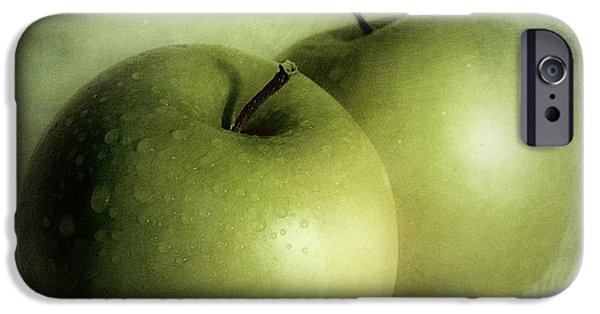 Green iPhone Cases - Apple Painting iPhone Case by Priska Wettstein