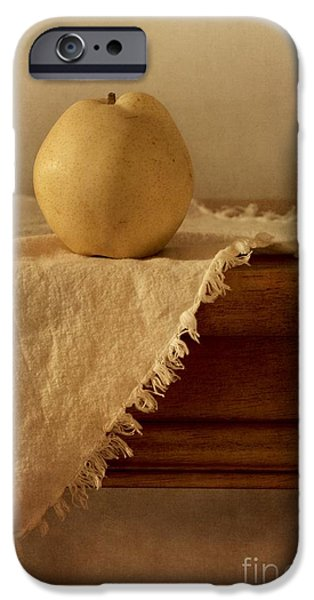 Life iPhone Cases - Apple Pear On A Table iPhone Case by Priska Wettstein