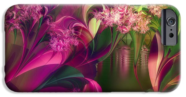 Fractal Paintings iPhone Cases - Apple Peel Brook iPhone Case by Mindy Sommers