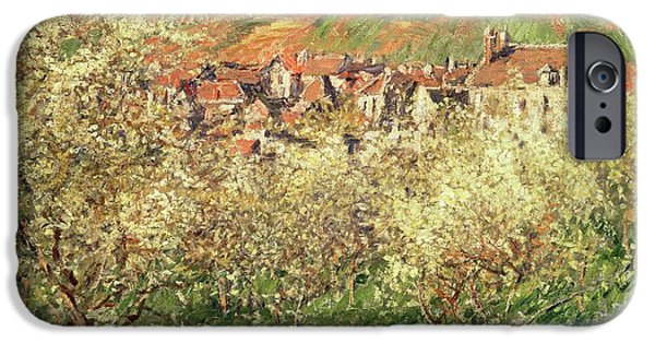 Apple Trees iPhone Cases - Apple Trees in Blossom iPhone Case by Claude Monet