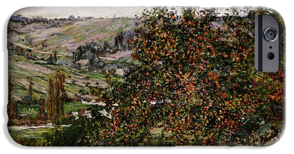 Fruit Tree iPhone Cases - Apple Trees near Vetheuil iPhone Case by Claude Monet