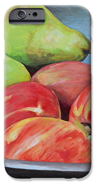 Stainless Steel iPhone Cases - Apples and Pears iPhone Case by Mary Chant