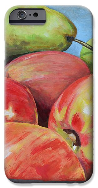 Stainless Steel Paintings iPhone Cases - Apples and Pears iPhone Case by Mary Chant
