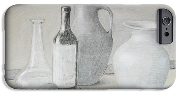 Table Wine Drawings iPhone Cases - Apples and Pottery iPhone Case by Adleta