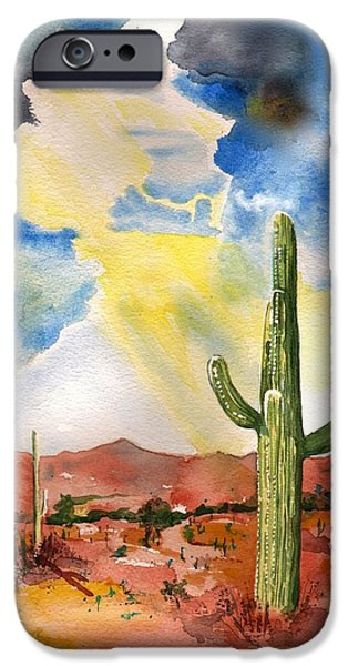 Sun Rays Paintings iPhone Cases - Approaching Monsoon iPhone Case by Sharon Mick