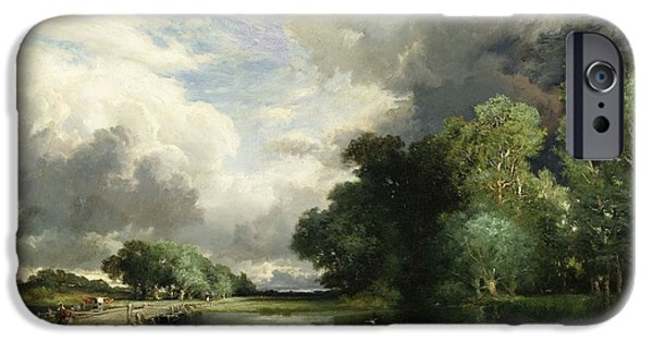 Rural Schools iPhone Cases - Approaching Storm Clouds iPhone Case by Thomas Moran