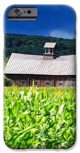 New England Farm iPhone Cases - Approaching Storm Vermont Barn iPhone Case by Edward Fielding