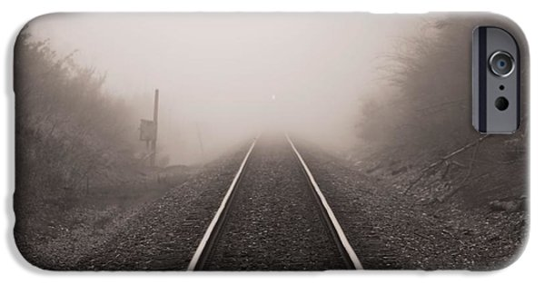 Eerie iPhone Cases - Approaching Train In Fog iPhone Case by Dan Sproul