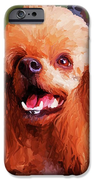 Apricots iPhone Cases - Apricot Poodle iPhone Case by Jai Johnson