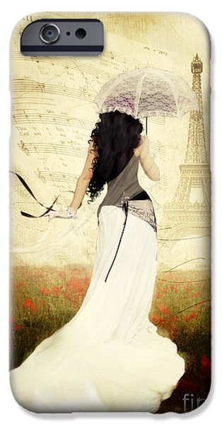 Romanticism iPhone Cases - April in Paris iPhone Case by Shanina Conway