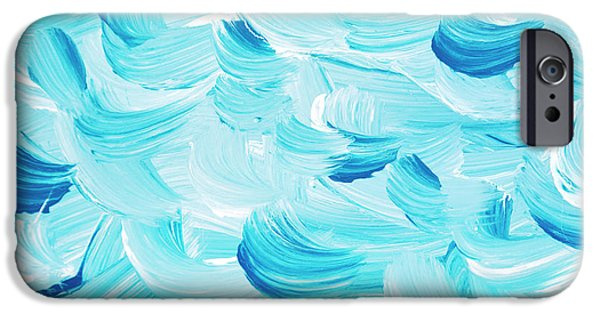 Blue Abstracts iPhone Cases - Aqua Abstract Painting iPhone Case by Christina Rollo