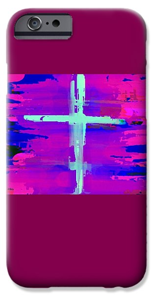 Weeping Drawings iPhone Cases - Aqua and Mauve Cross iPhone Case by Mary Ann Goughler