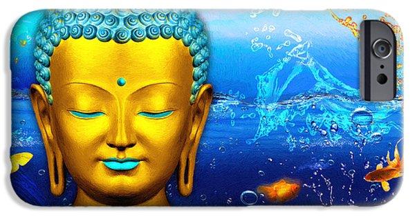 Statue Portrait iPhone Cases - Aqua Buddha iPhone Case by Khalil Houri