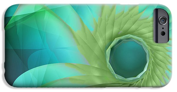 Fractal Paintings iPhone Cases - Aqua In Bloom iPhone Case by Mindy Sommers
