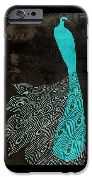 Peafowl iPhone Cases - Aqua Peacock Art Nouveau iPhone Case by Mindy Sommers