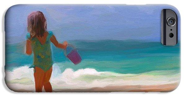 Little Girl iPhone Cases - Aqua Seas iPhone Case by Patti Siehien
