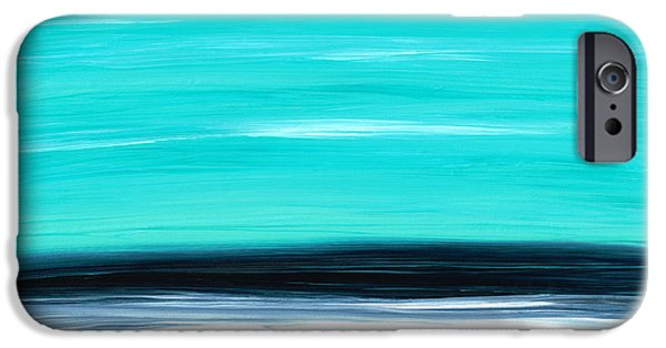 Ocean iPhone Cases - Aqua Sky - Bold Abstract Landscape Art iPhone Case by Sharon Cummings