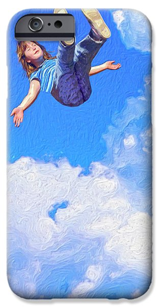 Floating Girl Paintings iPhone Cases - Aquarius Rising iPhone Case by Dominic Piperata