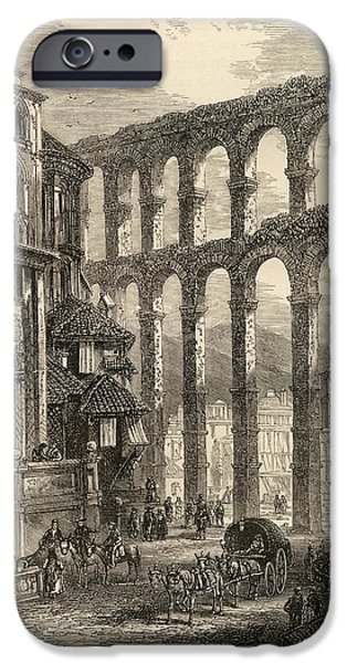 Support Drawings iPhone Cases - Aqueduct At Segovia, Spain. From The iPhone Case by Vintage Design Pics