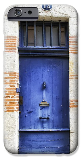South West France iPhone Cases - Aquitaine Blue Door 2 iPhone Case by Georgia Fowler