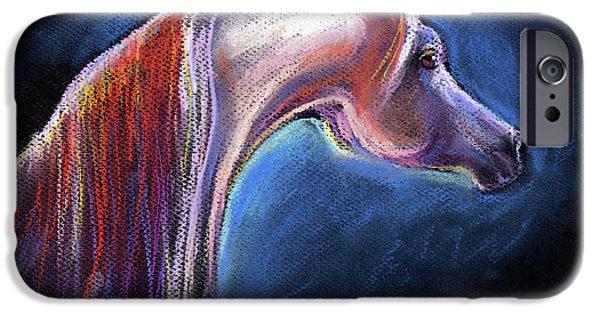 Pastel Drawings iPhone Cases - Arabian horse equine painting iPhone Case by Svetlana Novikova