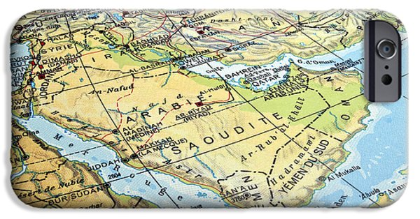 Industry iPhone Cases - Arabian Peninsula map. iPhone Case by Fernando Barozza