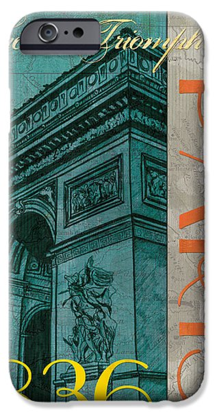 Maps Paintings iPhone Cases - Arc de Triomphe iPhone Case by Debbie DeWitt