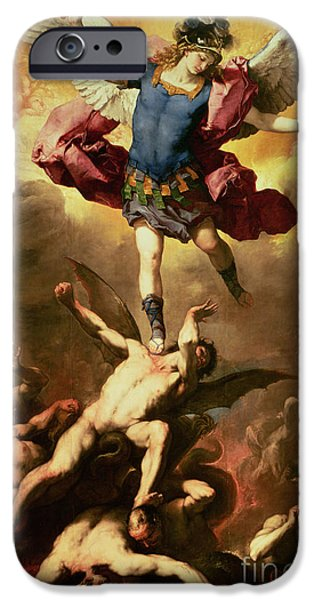 Best Sellers -  - Michael iPhone Cases - Archangel Michael overthrows the rebel angel iPhone Case by Luca Giordano