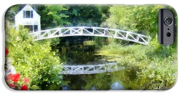 Maine iPhone Cases - Arched wooden foot bridge Mount Desert Island Acadia Maine iPhone Case by Edward Fielding