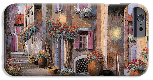 Village iPhone Cases - Archi A Toni Viola iPhone Case by Guido Borelli