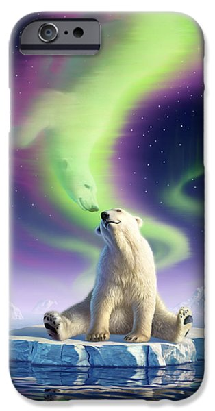 Aurora iPhone Cases - Arctic Kiss iPhone Case by Jerry LoFaro