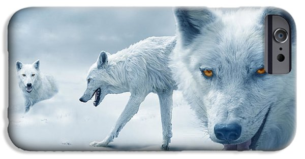 Winters iPhone Cases - Arctic Wolves iPhone Case by Mal Bray