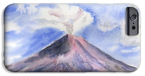 Clouds iPhone Cases - Arenal Volcano Costa Rica iPhone Case by Arline Wagner