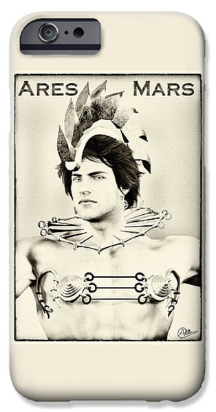 Zeus iPhone Cases - Ares duotone portrait By Quim Abella iPhone Case by Joaquin Abella
