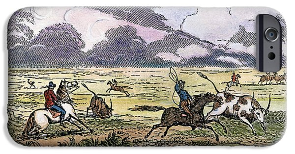 Roping Horse iPhone Cases - ARGENTINA: GAUCHOS, 1853. Gauchos catching cattle on the Argentine pampas. Wood engraving, American, 1853 iPhone Case by Granger