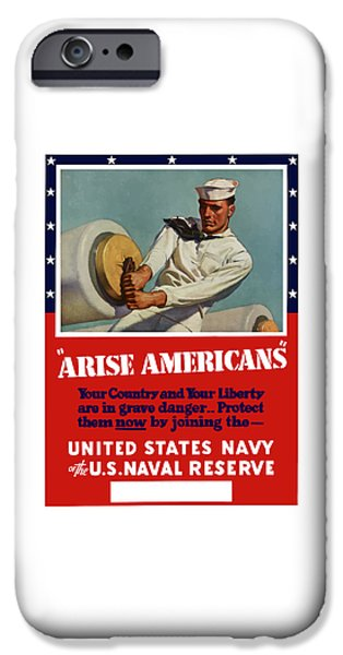 Reserve iPhone Cases - Arise Americans Join the Navy  iPhone Case by War Is Hell Store