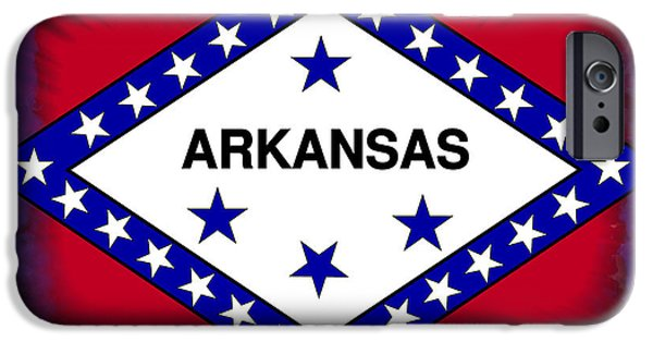 Arkansas iPhone Cases - Arkansas Flag Abstract iPhone Case by Daniel Hagerman