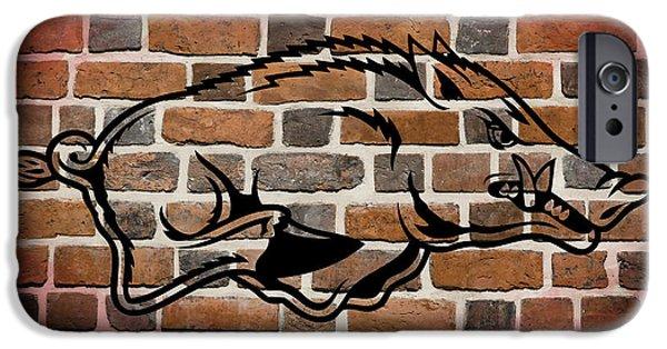Arkansas iPhone Cases - Arkansas Razorbacks Brick Wall iPhone Case by Daniel Hagerman