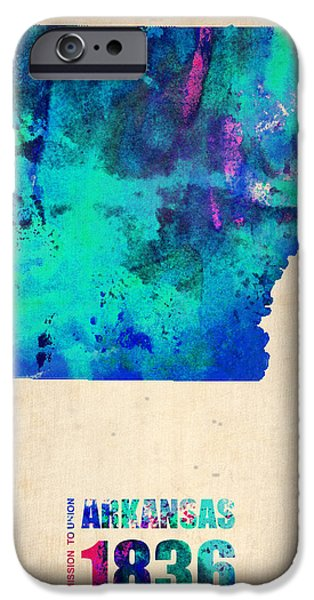 Arkansas iPhone Cases - Arkansas Watercolor Map iPhone Case by Naxart Studio