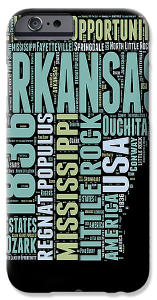 4th July Mixed Media iPhone Cases - Arkansas Word Cloud 1 iPhone Case by Naxart Studio