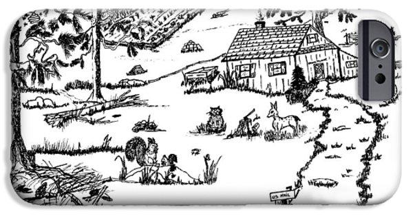Farmer Drawings iPhone Cases - Arlennes IDYLLIC FARM iPhone Case by Daniel Hagerman