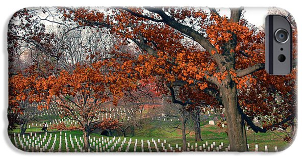 Grave Yard iPhone Cases - Arlington Cemetery in Fall iPhone Case by Carolyn Marshall