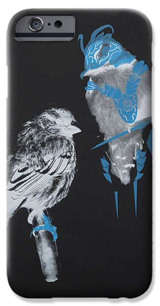 Inverted Drawings iPhone Cases - Armoured Birds iPhone Case by Jessica Jackson