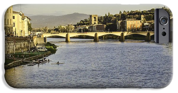Buildings iPhone Cases - Arno River in Florence Italy iPhone Case by Phyllis Taylor