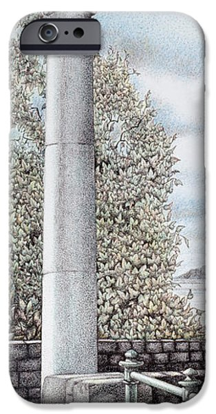 Fence Drawings iPhone Cases - Arnside clock  Cumbria iPhone Case by Sandra Moore